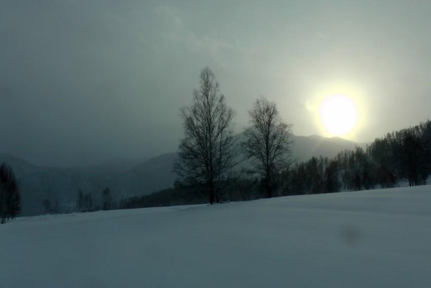 пасмурный снежный день