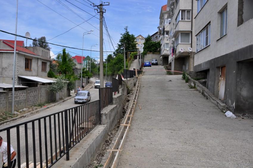 Подпорная стенка в дороге