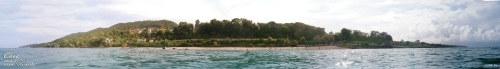 пляж Ласточка вид с моря панорама увеличить