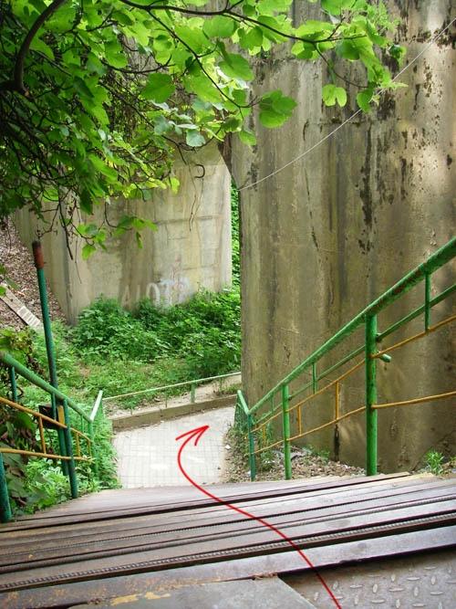 После лестницы под мост