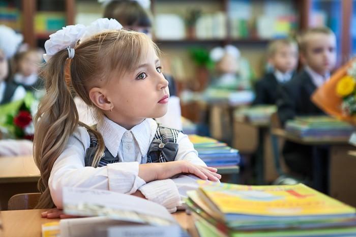 девочка за партой в школе
