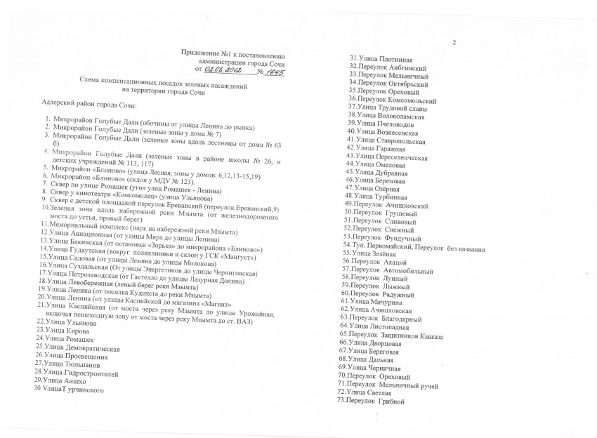 администрации города Сочи