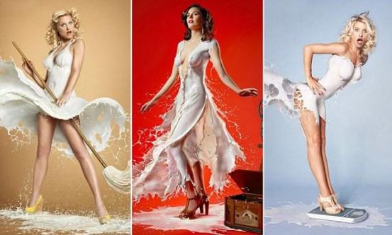 Девушки в платье из молока