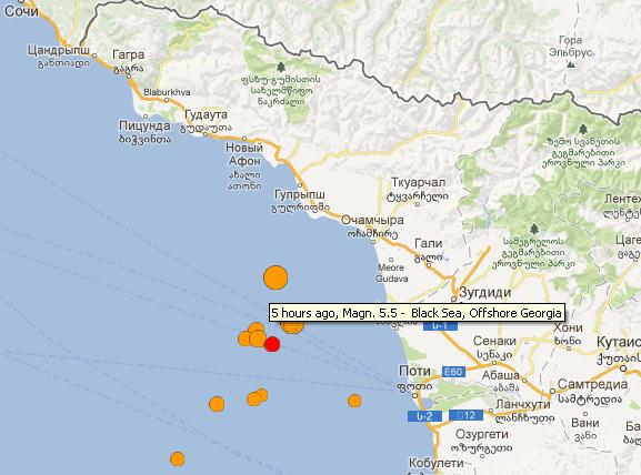Землетрясение в Сочи 23 декабря 2012 года