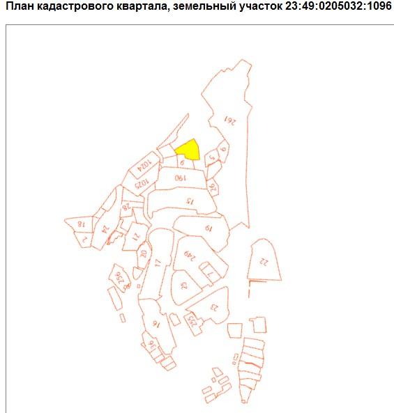 Желтым выделен застраиваемый участок 23:49:0205032:1096