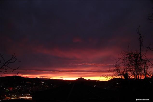 Зимний рассвет в Сочи