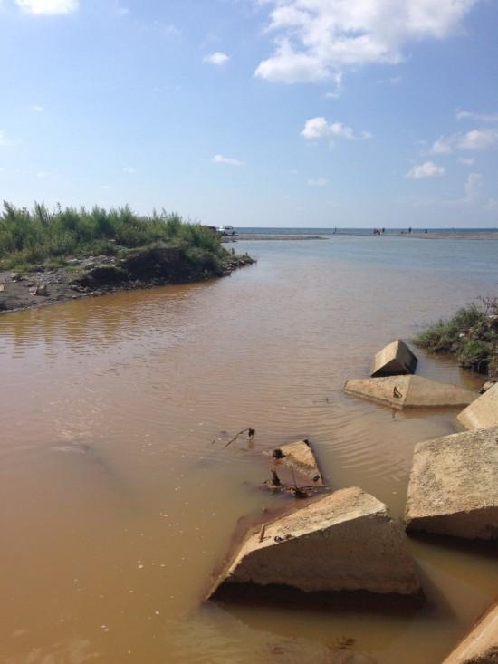 Грязный ручей впадает в море