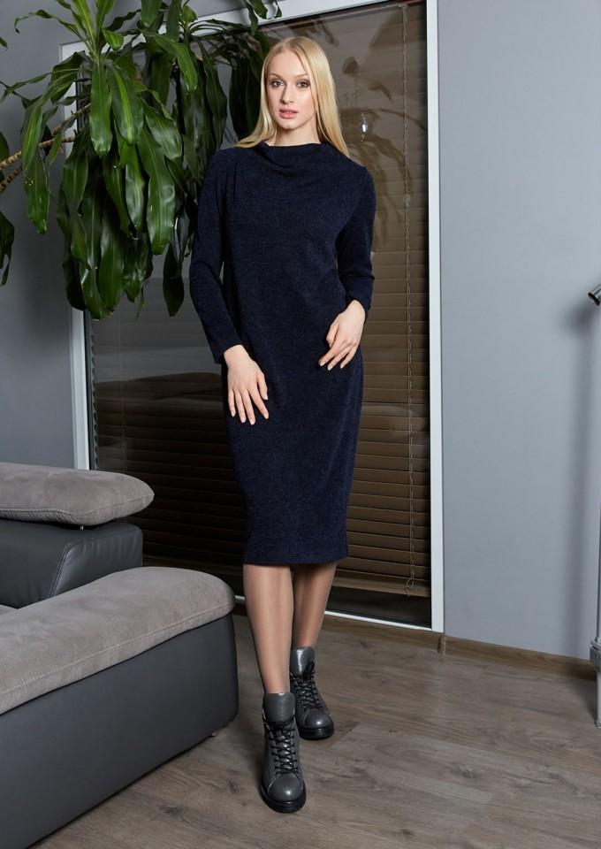 Женское платье темно-синие  с длинным рукавом