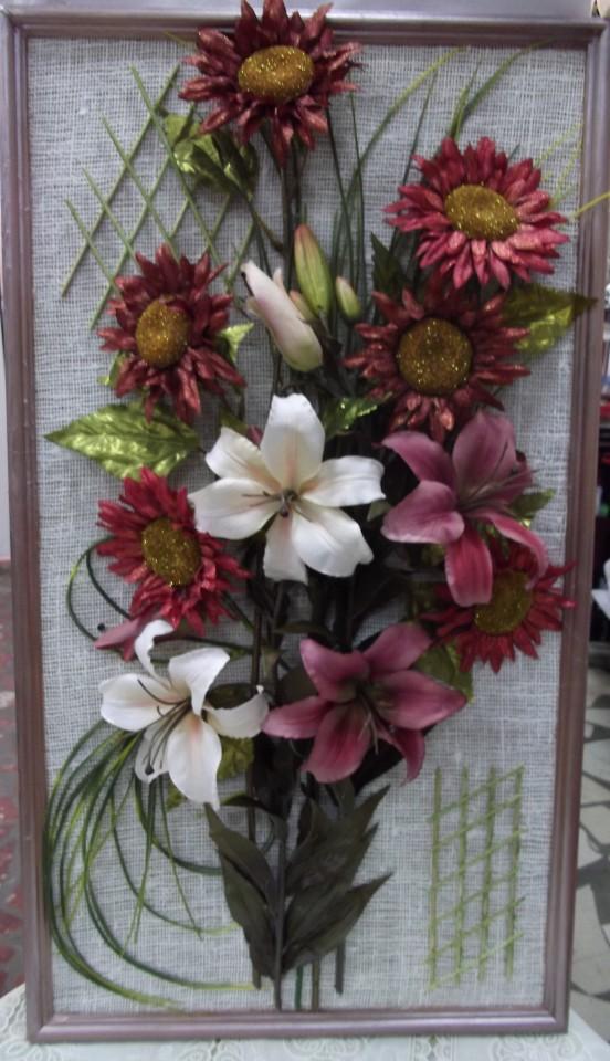 Фото картин из искусственных цветов